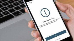 Bank-ID-appen visar att driftstörning råder.