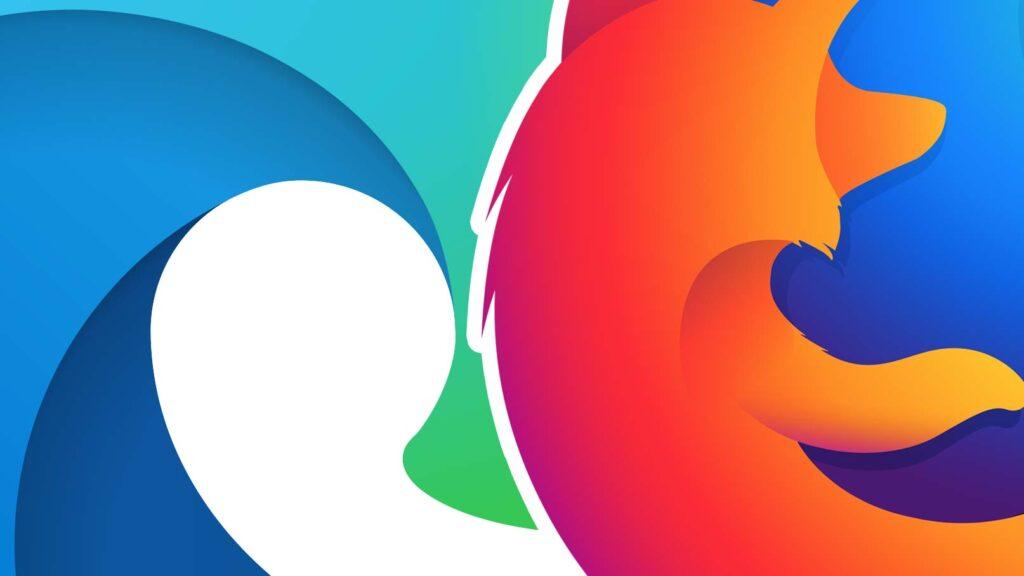 Logotyperna för Edge och Firefox