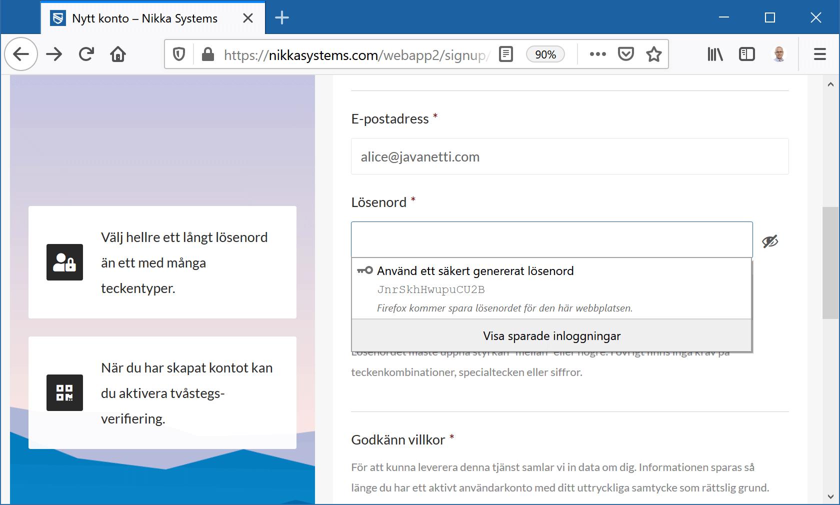 Firefox föreslår ett starkt lösenord.