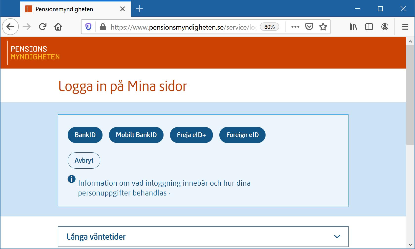 Pensionsmyndighetens webbplats
