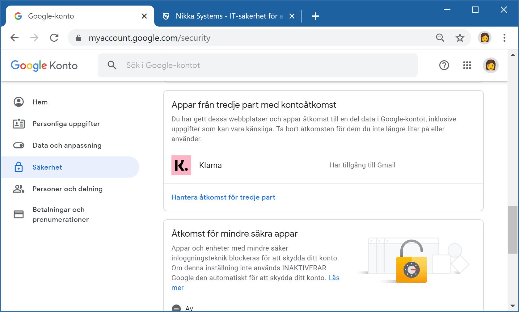 Säkerhetsinställningar för Google-konto