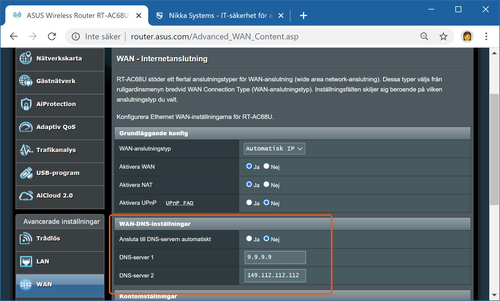 DNS-inställningar i Asus-router.