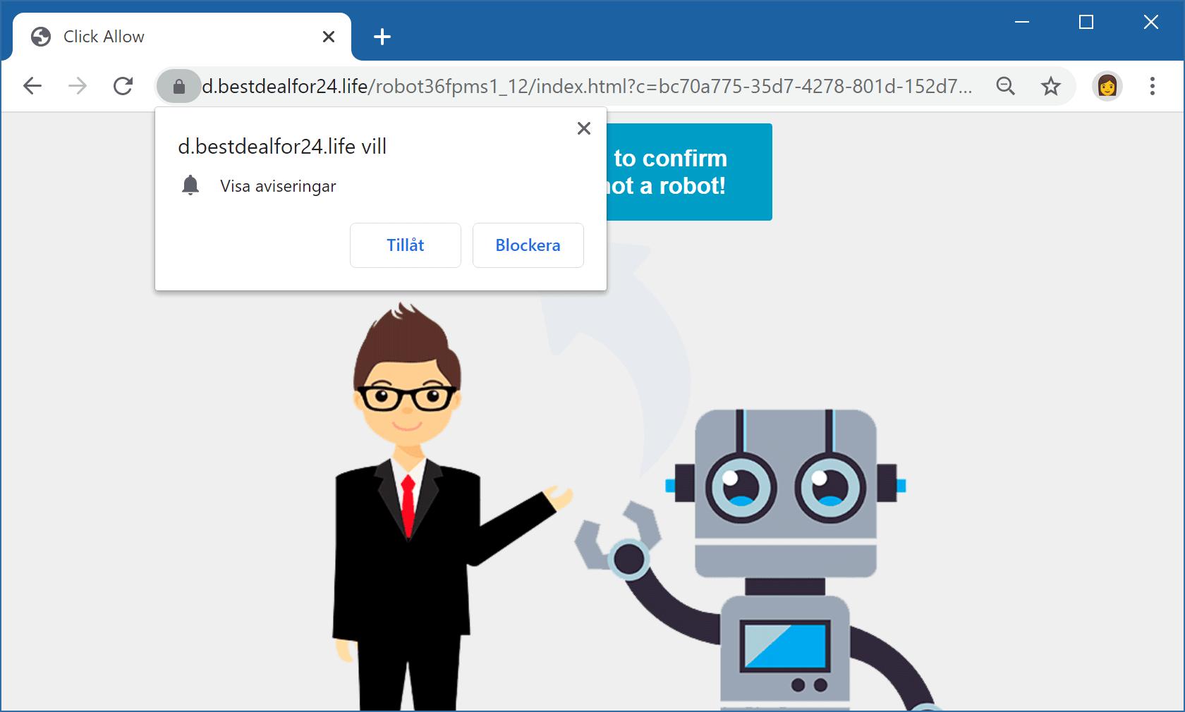 Bedräglig webbsida i Chrome uppmanar besökare att tillåta notiser.