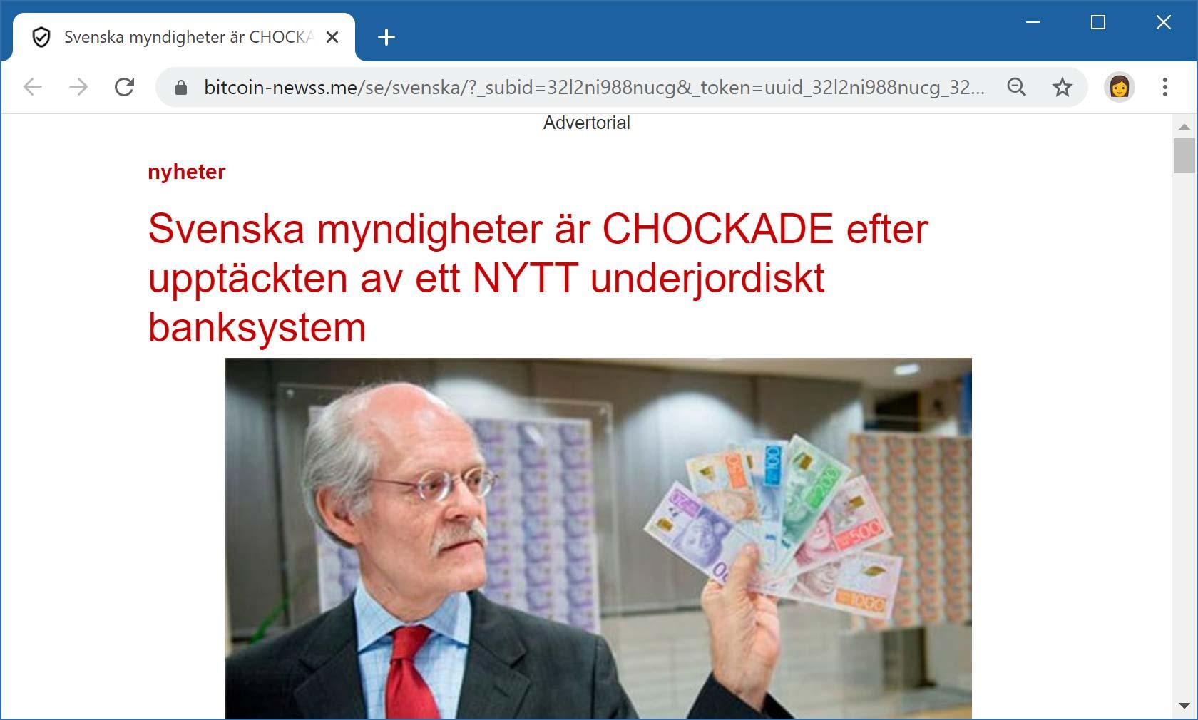 Webbsida som marknadsför kryptovalutabluff.