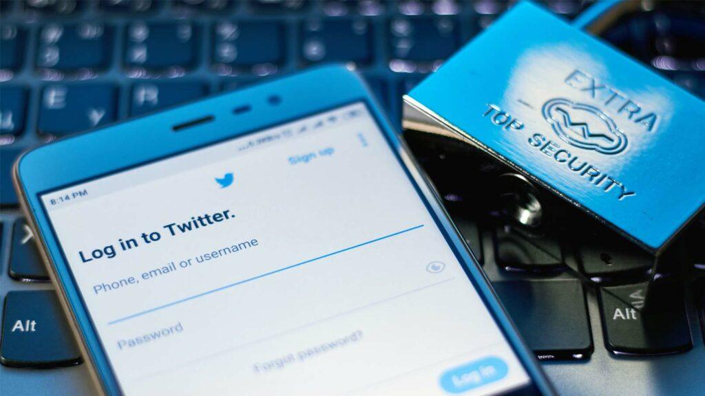 Twitter-app och hänglås