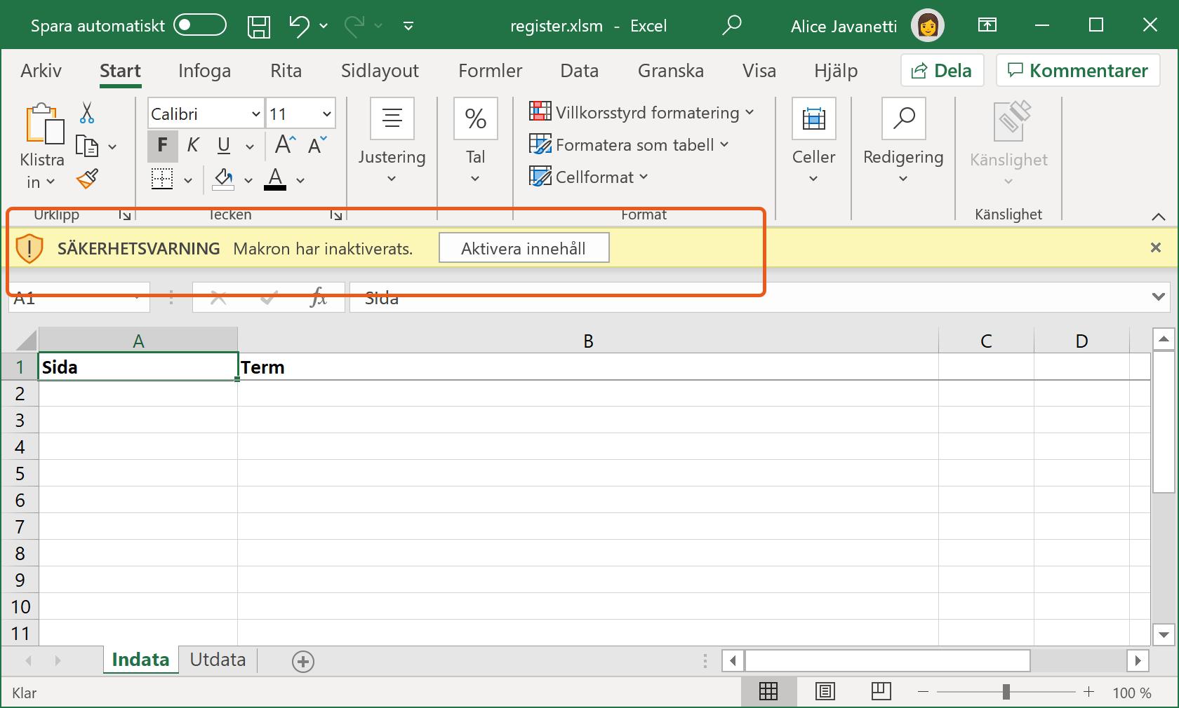 Säkerhetsvarning i Microsoft Excel.