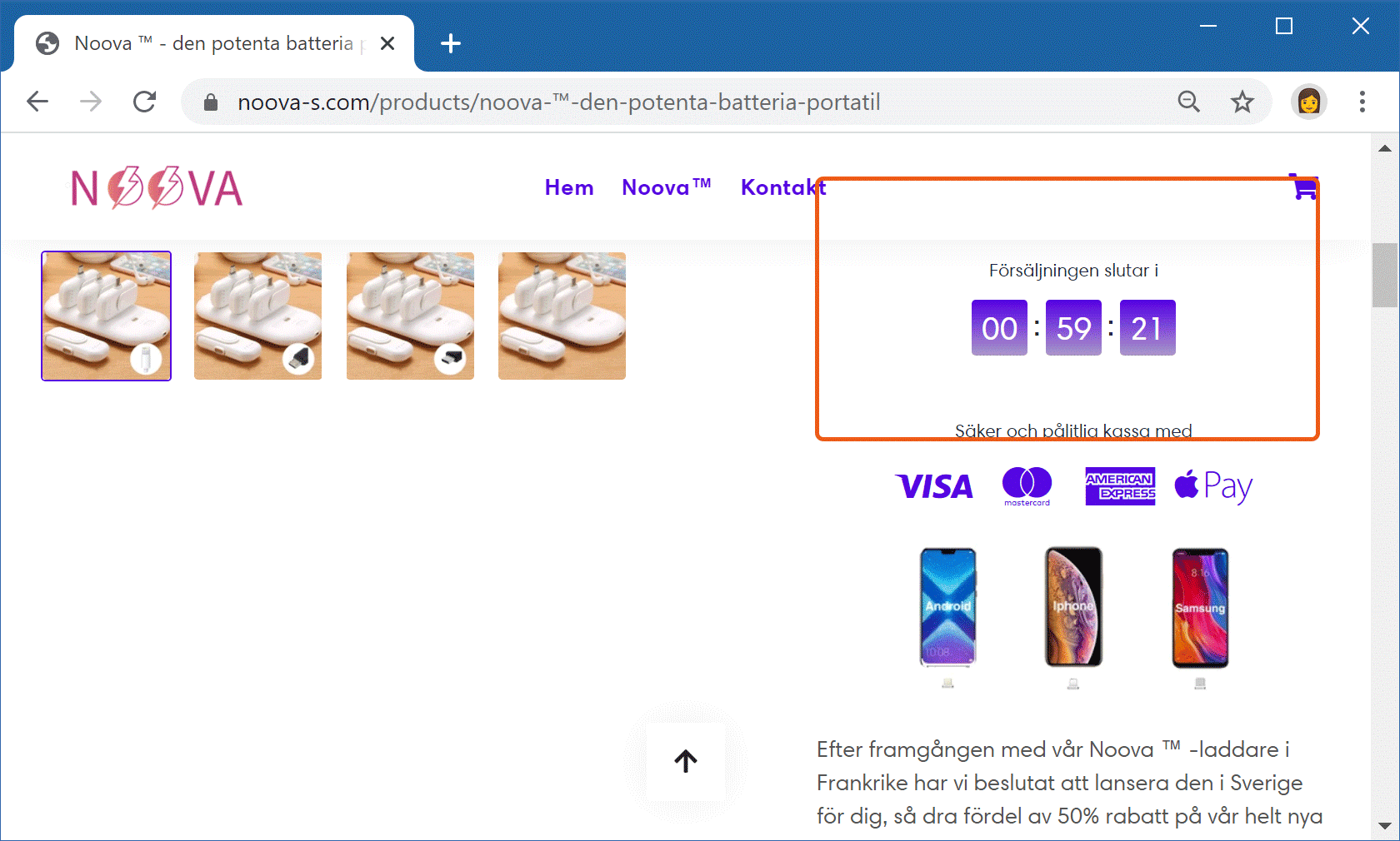 Falsk nedräkningstimer på Noovas webbplats.