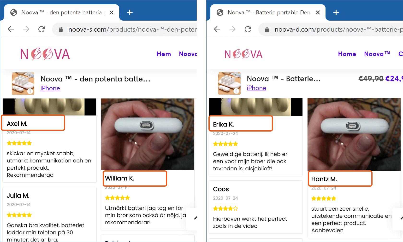 Falska recensioner på Noovas webbplats.