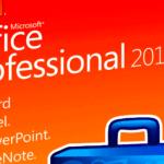 Detalj ur Office 2010-butiksförpackningen.