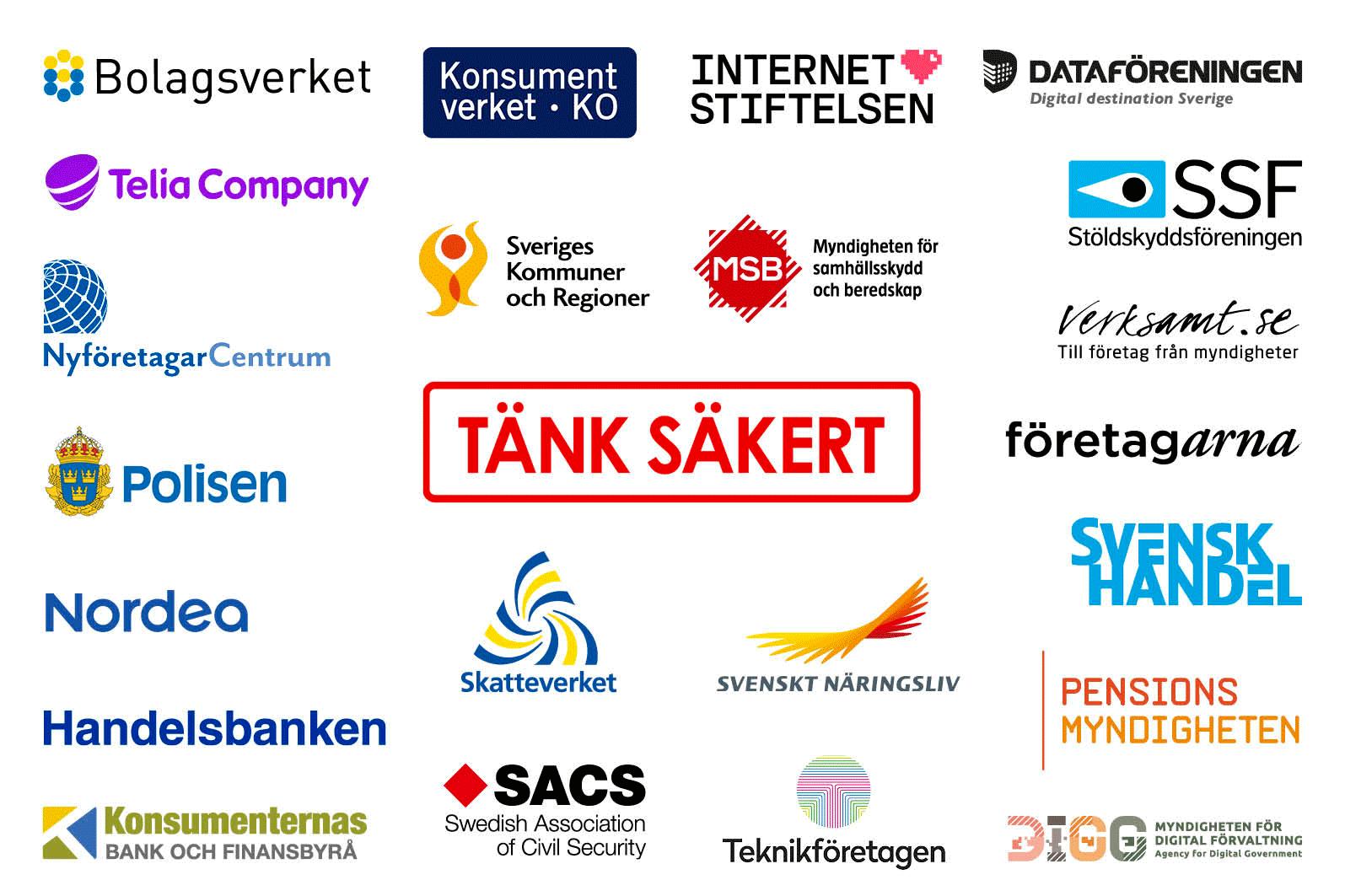 Organisationer som medverkar i Tänk säkert-kampanjen.