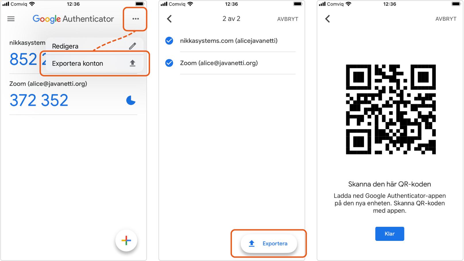 Instruktioner för att exportera tvåfaktorsautentiseringshemligheter i Google Authenticator på Iphone.