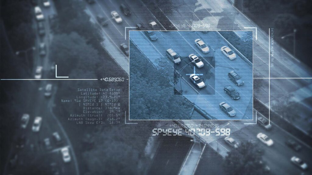 Övervakningsbild ur typisk spionfilm