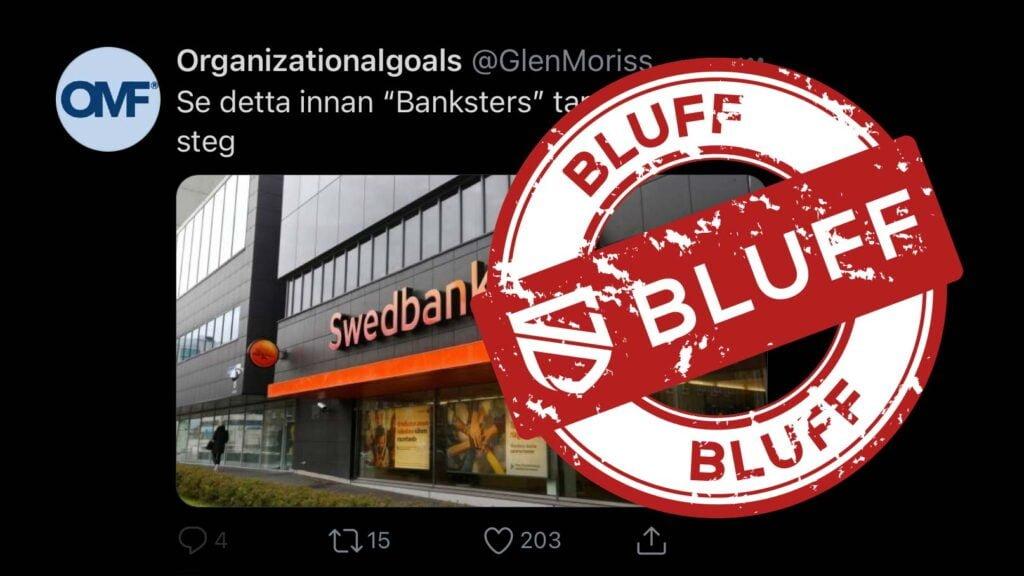 """Sponsrat Twitter-inlägg med texten """"Se detta innan Banksters tar sitt nästa steg""""."""