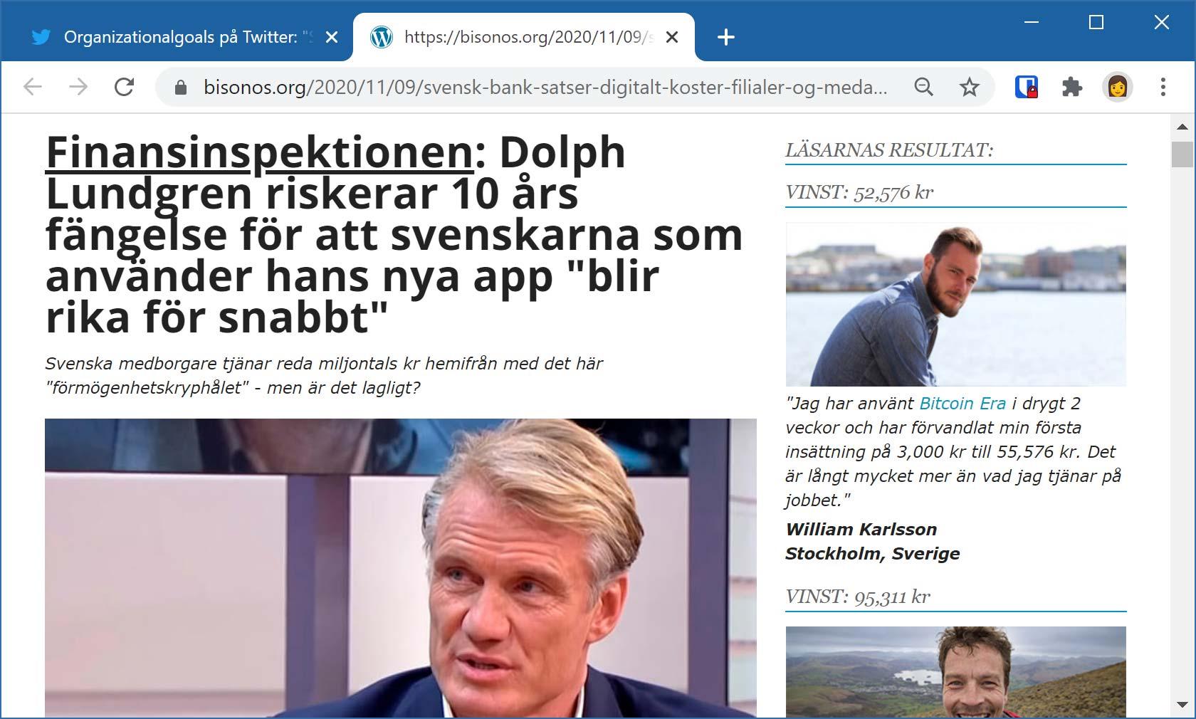 Bluffartikel där skådespelaren Dolph Lundgren påstås riskera fängelse för en app som gör svenskar rika.