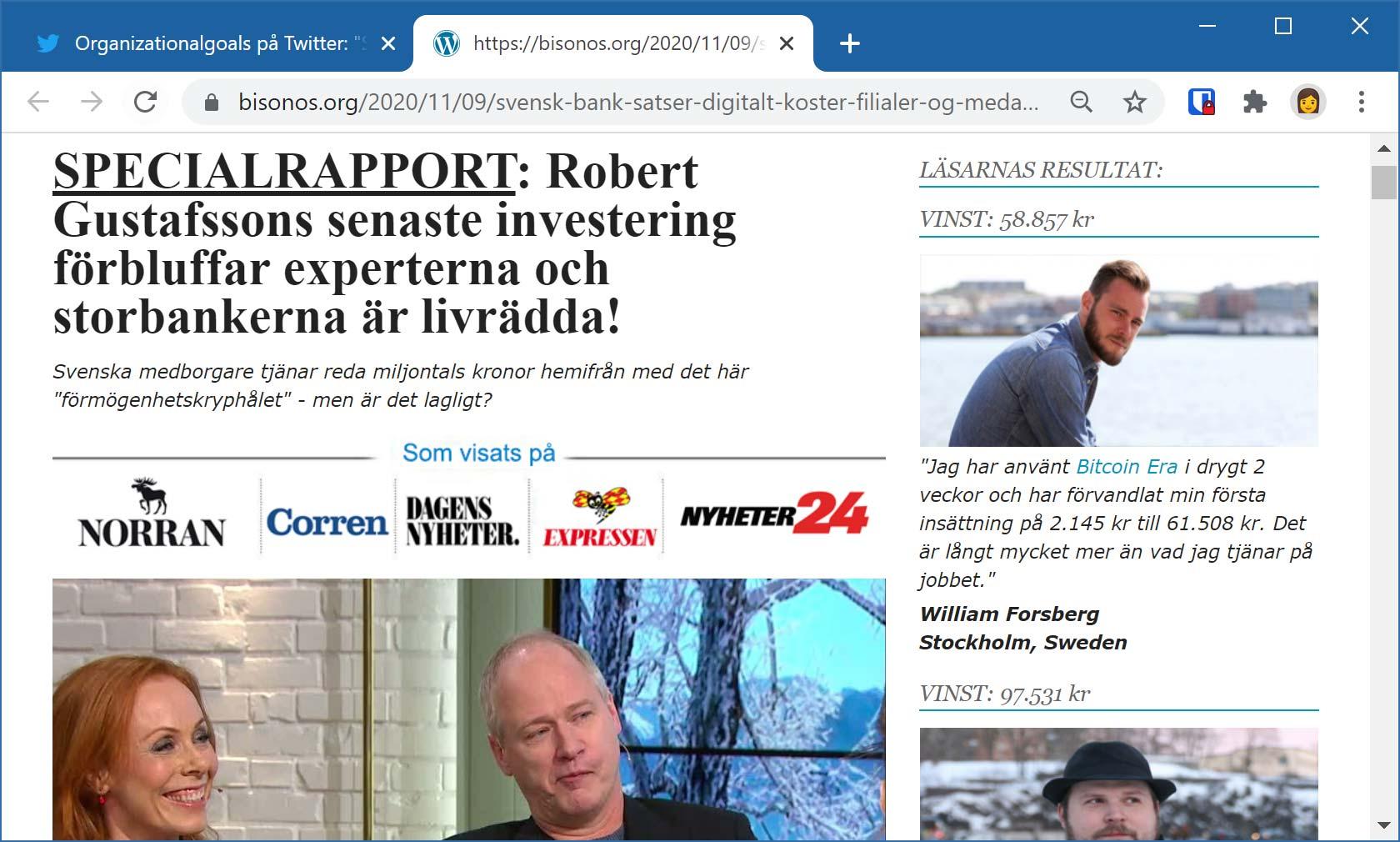 Bluffartikel där komikern Robert Gustafsson påstås marknadsföra en ny investeringsmetod.