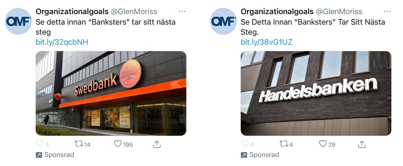 """Sponsrade Twitter-inlägg med texten """"Se detta innan Banksters tar sitt nästa steg""""."""