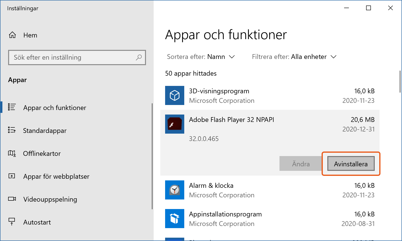Avinstallationsknapp för Adobe Flash Player i Windows 10.