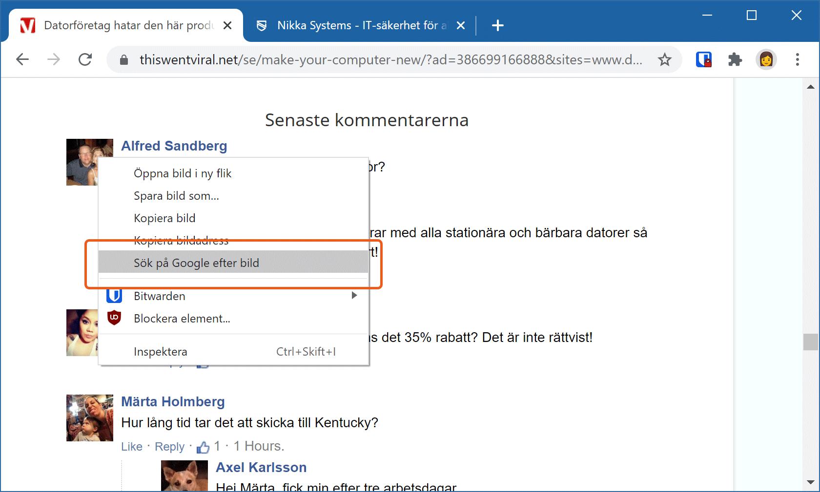Google Chromes högerklicksmeny visar bildsökningsfunktionen.
