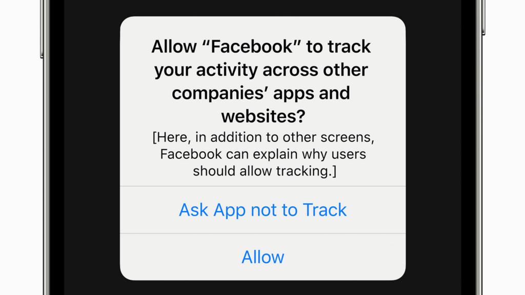 Kommande IOS 14 frågar som användaren vill tillåta spårning mellan appar.