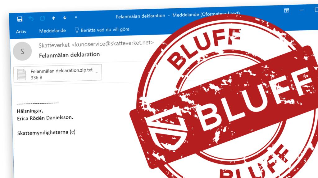 Bluffmarkering på falskt mejl från Skatteverket.