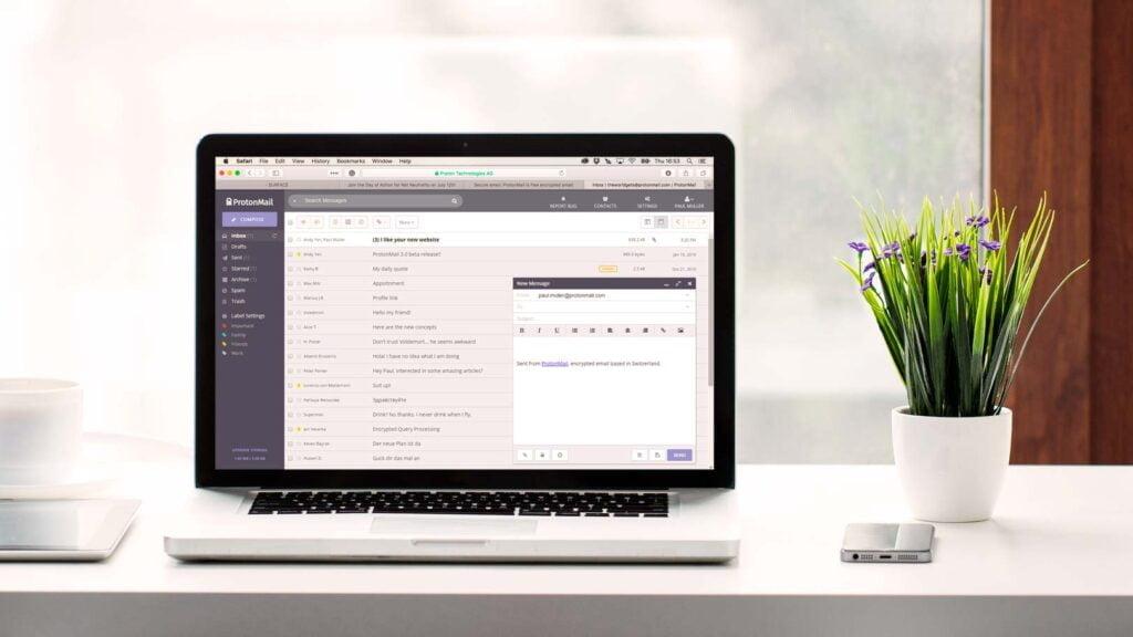 E-posttjänsten Protonmail på Macbook