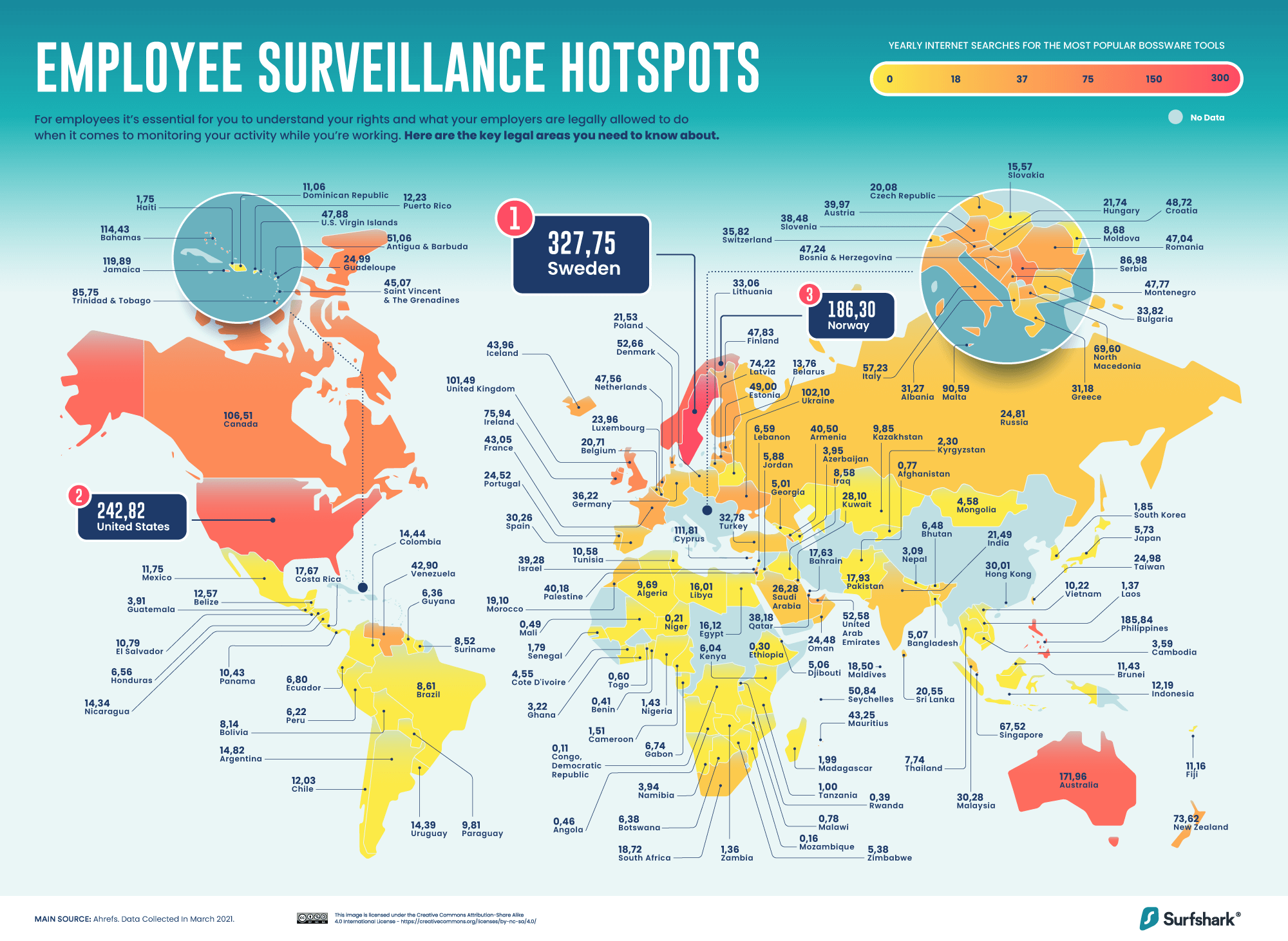 Världsöversikt över sökningar efter övervakningsappar.