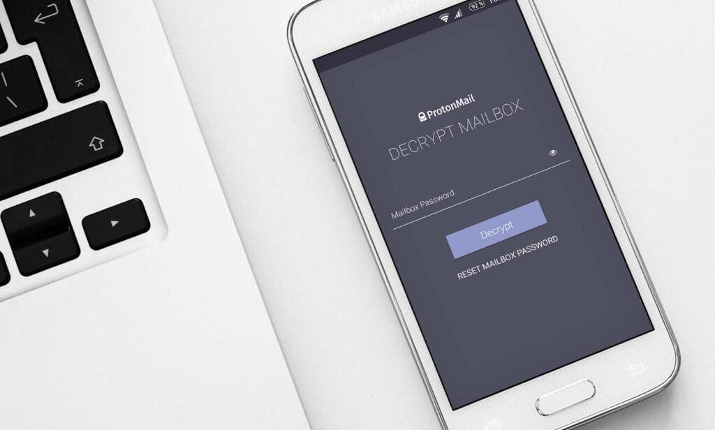 Protonmail-appen på Android-mobil