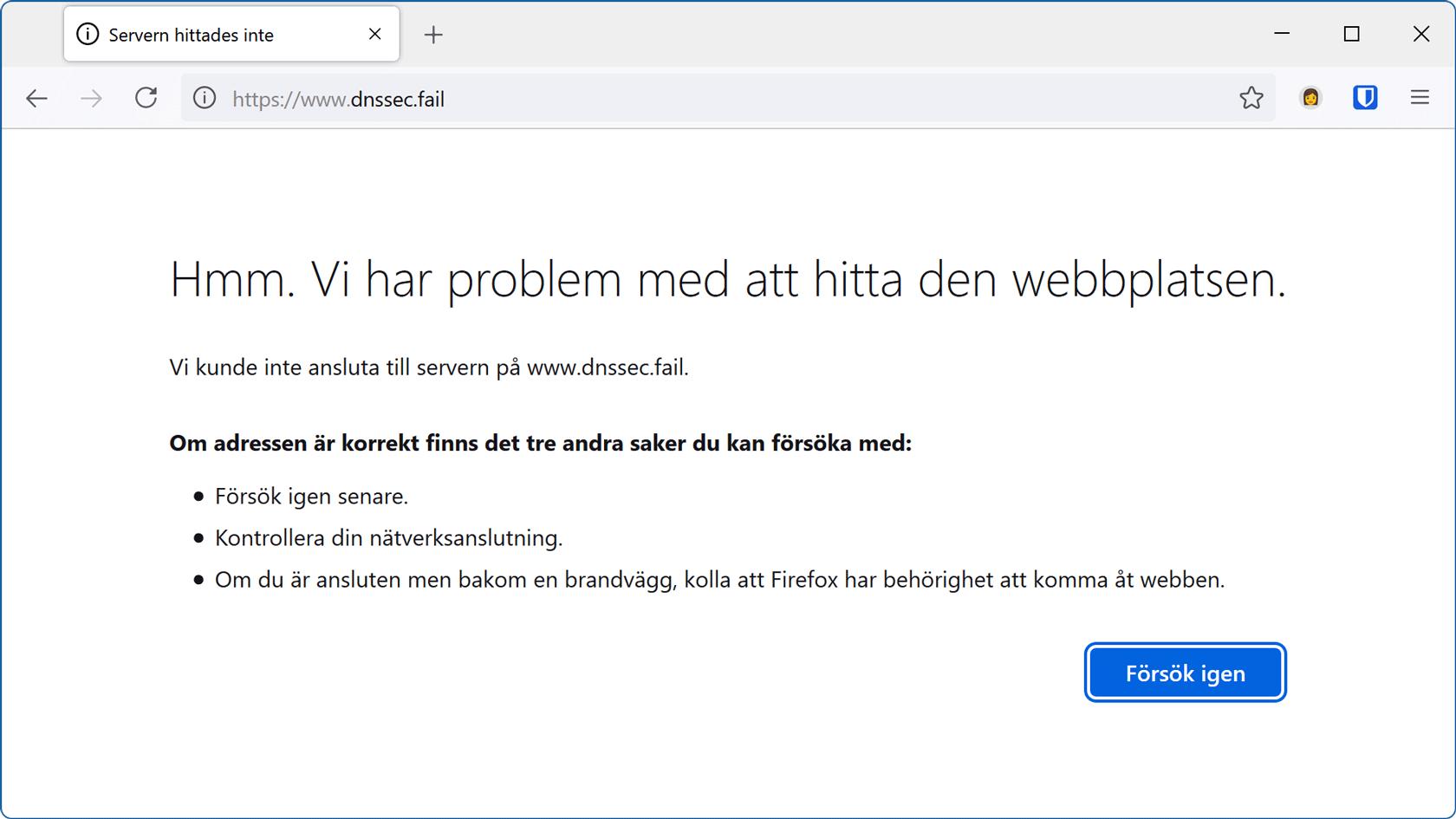 En DNSSEC-testwebbplats visar att anslutningen misslyckades.