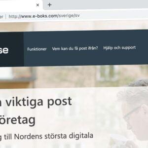E-boks webbplats visas över en osäker ansluting.