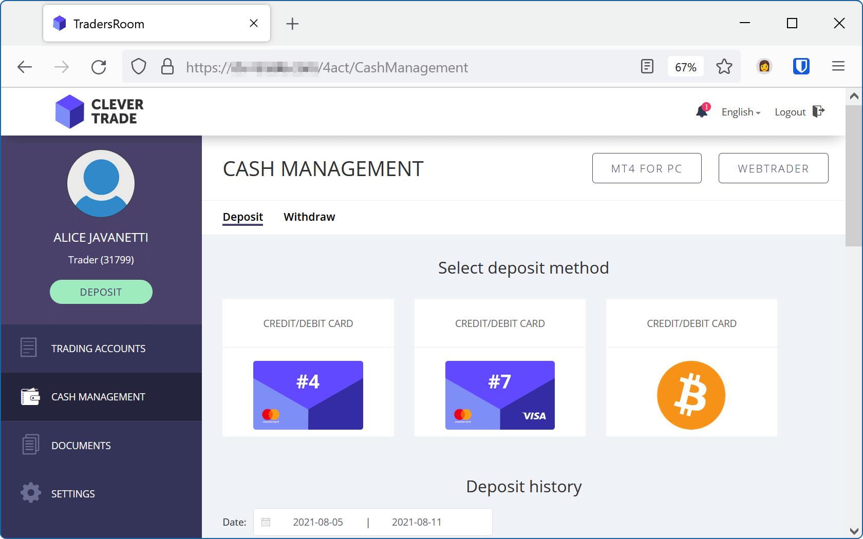 En av webbplatserna som bad om våra betalkortuppgifter.