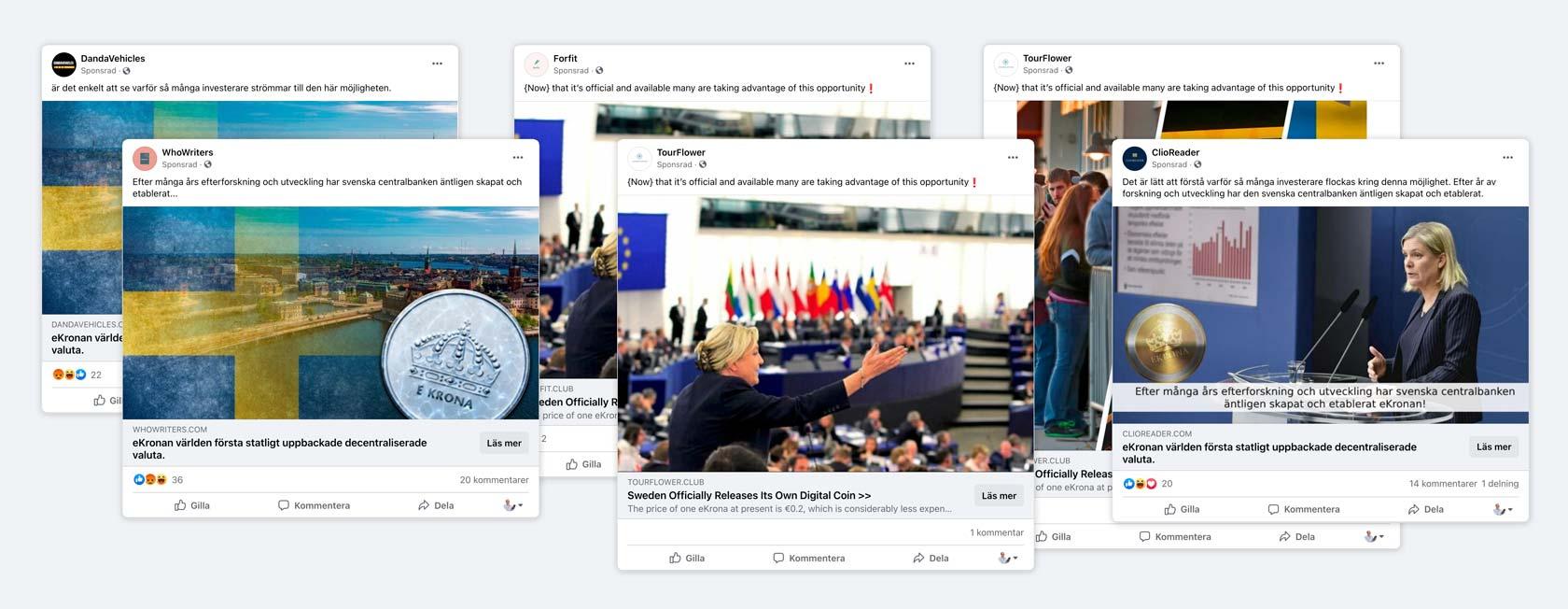 Urval av bedrägeriannonser på Facebook