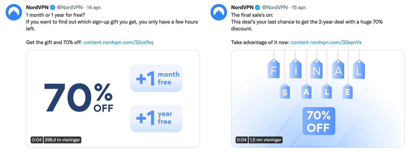 Två NordVPN-kampanjer på Twitter. Den ena ger 70 % rabatt plus en eller flera extramånader. Den andra ger bara 70 % rabatt.