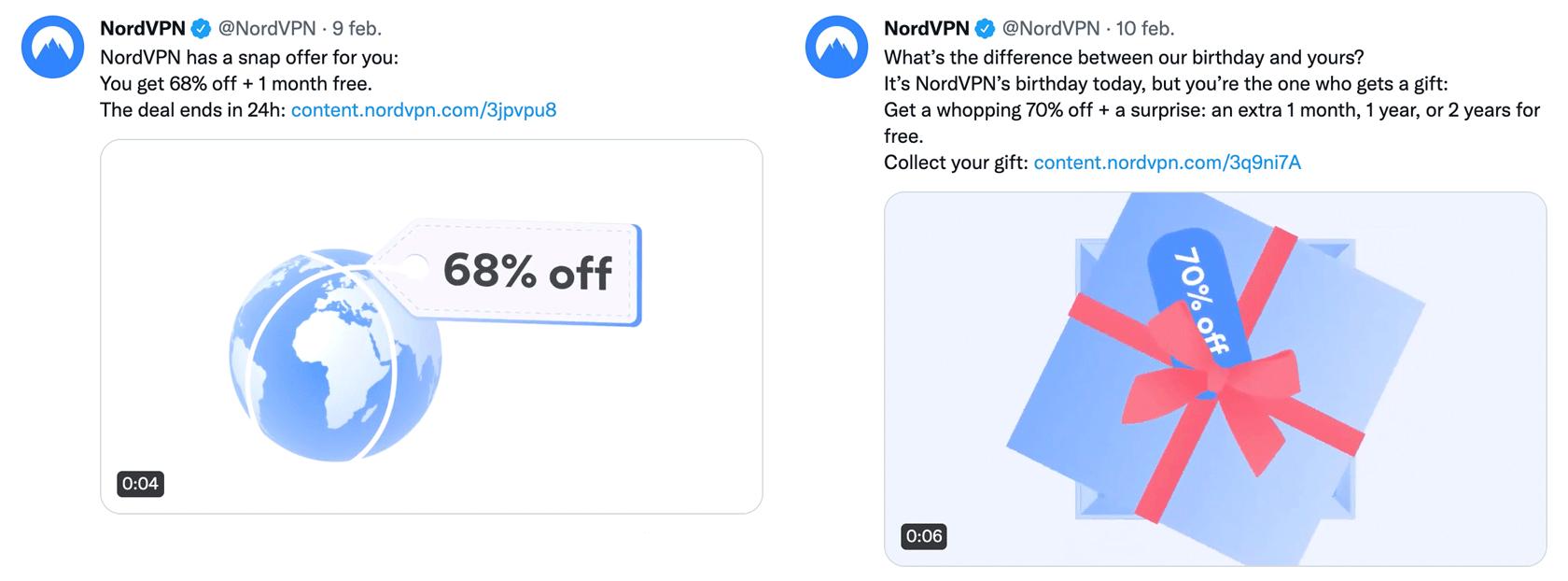 Twitter-inlägg från nionde februari säger att kampanjen ska ta slut om 24 timmar. Twitter-inlägg från tionde februari startar en ny kampanj med högre rabattsats.