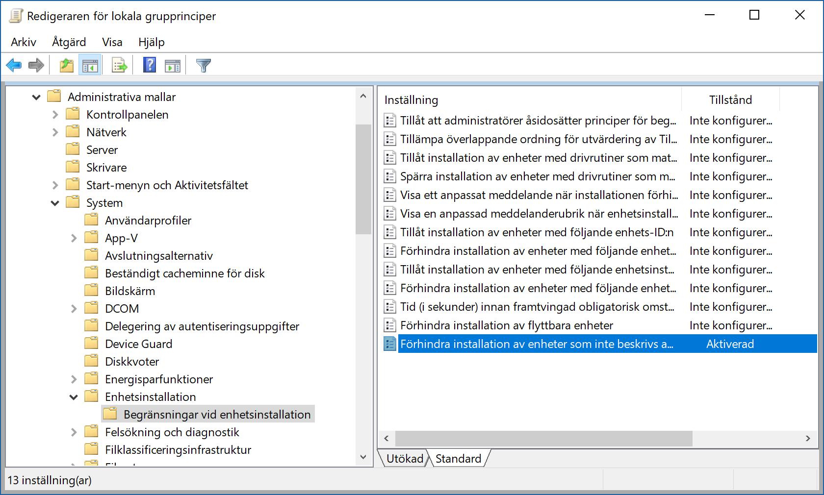 """Inställningen """"Förhindra installation av enheter som inte beskrivs av andra principinställningar"""" visas i Windows gruppolicyredigerare."""