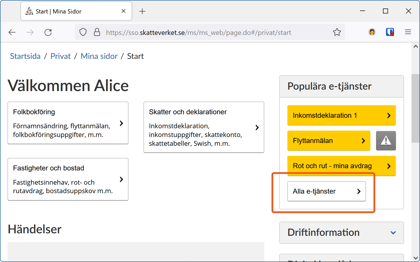 """Knappen """"Alla e-tjänster"""" är markerad på Skatteverkets välkomstsida för """"Mina sidor""""."""