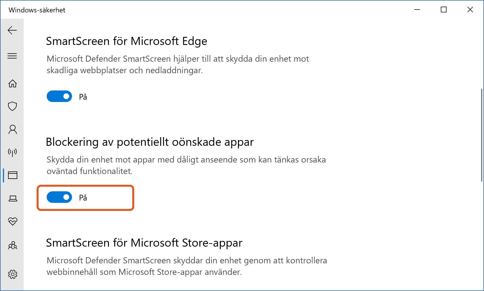Inställningssida för skydd mot PUA-appar i Windows 10.