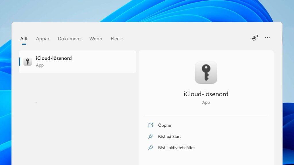 Icloud-appen visas på startmenyn i Windows 11.