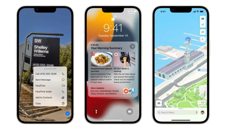 Tre Iphone-mobiler med IOS 15.
