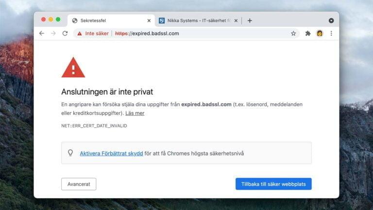 Chrome på Mac OS El Capitan varnar för att anslutningen inte är privat.
