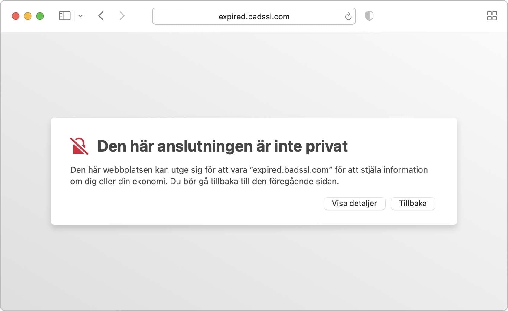 Safari varnar för att anslutningen inte är privat.